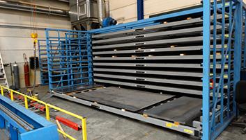 Horizontaal rek van 6 meter voor grote platen en reststukken